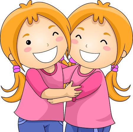Illustration von Zwillingsmädchen, die sich umarmen und die gleiche Kleidung tragen Standard-Bild