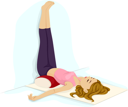 Illustration of a Teenage Girl with Legs Up the Wall Yoga Pose