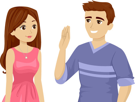 Illustration of a Teenage Guy Raising His Hands Up While Making a Promise to a Girl Stock Photo