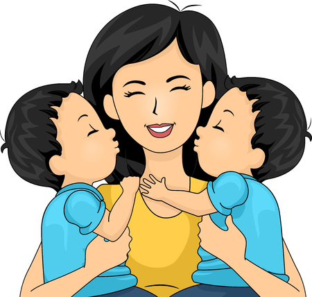 Illustration of a Mom Carrying Her Boys Twins Giving Her a Kiss