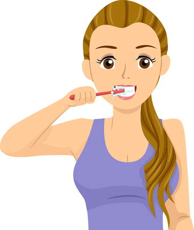 Illustration of a Teenage Girl Holding a Toothbrush and Brushing Her Teeth