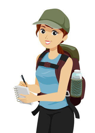 Illustration of a Teenage Girl Researcher Hiking a Mountain Carrying a Backpack with Water Bottle and Taking Notes