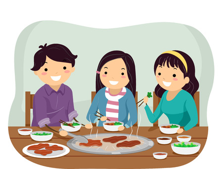 Illustration of Stickman Teenage Girl and Guy Eating Grilled Meat in the Restaurant 스톡 콘텐츠