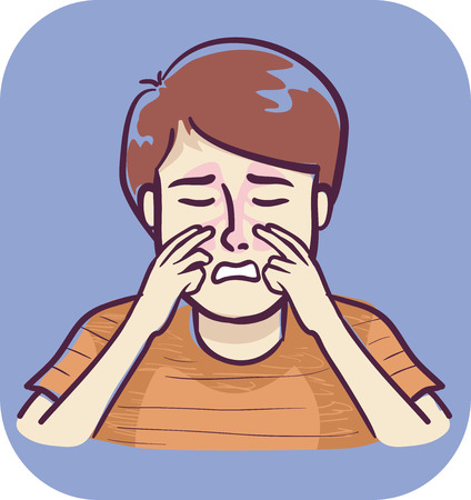Illustration of a Boy Massaging the Side of the Nose Near the Bridge to Alleviate Pressure from Sinus Infection