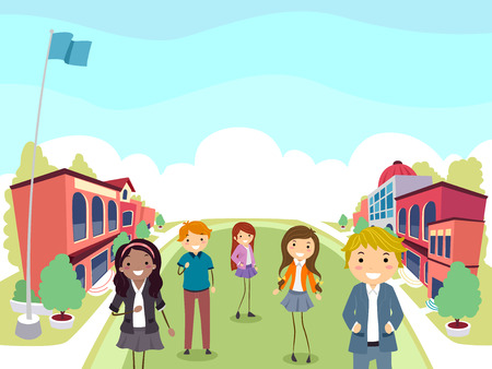Illustration of Stickman Teenage Girl and Guy Standing Inside School Campus