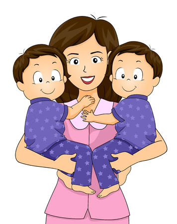 Illustration of a Mother Carrying her Twin Boys in Pajamas ready to Sleep Banque d'images