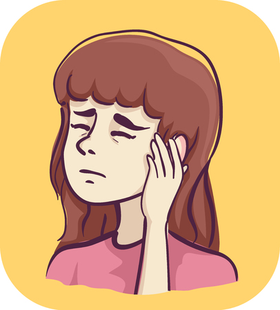 Illustration of a Sick Girl with her Hand Over Her Ear in Pain