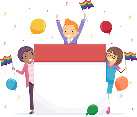 Illustration of Stickman Teenage Girl and Guy Celebrating and Holding LGBT Flags Imagens