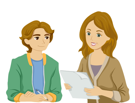 Illustration of a Teenage Guy Asking Mother to Check on a Report He Did Stock fotó