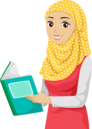 Illustration of a Teenage Muslim Girl Student Holding and Reading a Book
