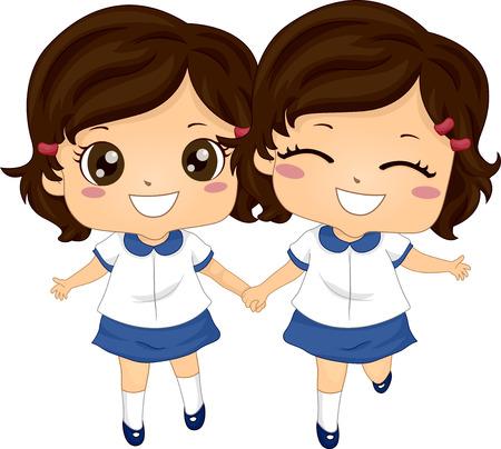 Illustration de Twin Kids Girls Wearing School Uniform Prêt pour l'école