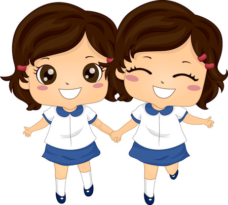 Illustration of Twin Kids Girls Wearing School Uniform Ready for School 스톡 콘텐츠