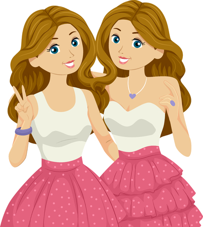 Illustration of Teenage Girl Twins Wearing Similar Outfits for a Party