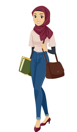 Illustration of a Teenage Muslim Girl Student Carrying a Bag and Books
