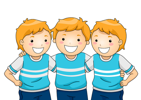 Illustration of Kid Boys Triplets wearing the Same Clothes