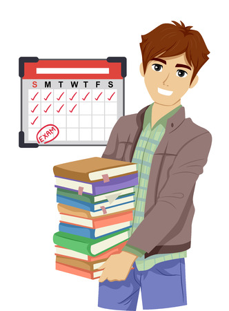 Illustration of a Teenage Boy Carrying Books For Review for His Coming Board Examination Фото со стока - 111760119