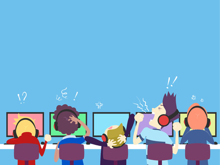 Illustration of Teenage Guys Playing Online Computer Games with Losing Expressions
