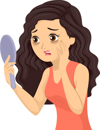 Illustration of a Teenage Girl Looking at a Mirror Horrified About Dark Circles Under Her Eyes