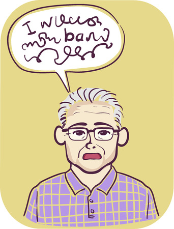 Illustration of a Senior Man with a Problem in Speaking. Speech Bubble with Words that Cannot be Understood