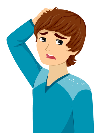 Illustration of a Teenage Guy Worried about Dandruff Falling From His Hair 写真素材 - 111760347