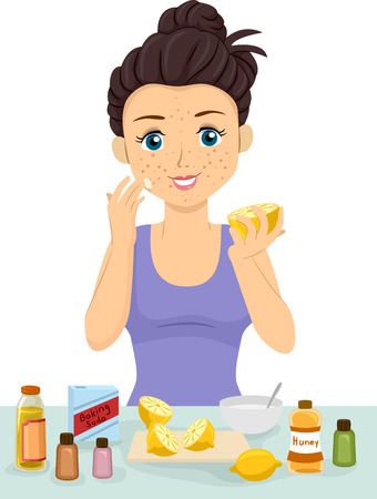 Illustration of a Teen Girl Using Home Remedies like Lemon, Baking Soda and Honey to Clear Her Pimples