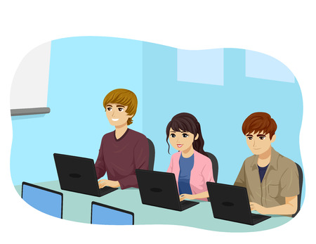 Illustration of Teenage Girl and Guys Using Laptop in Computer Class