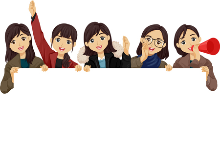 Illustration of Teenage Girl Students Holding a Blank Board Cheering