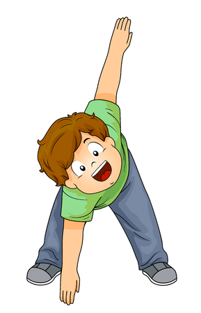 Illustration of a Kid Boy Reaching the Floor and Stretching His Body