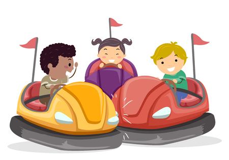 Ilustración de Stickman Kids montando coches de choque en el parque de atracciones