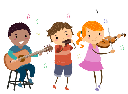 Illustration of Stickman Kids Playing Different Instruments Like Guitar, Harmonica and Violin to Play Country Music