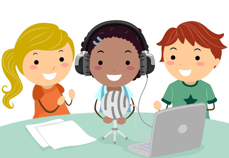 Illustration of Stickman Kids Recording a School Podcast with Microphone, Headset and Laptop