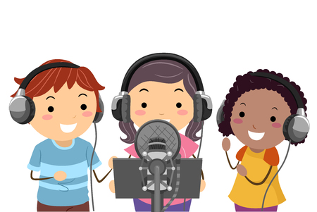 Illustration of Stickman Kids with Headphones and Microphone Recording a Song in a Studio