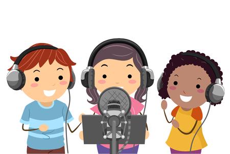 Illustration von Stickman Kids mit Kopfhörern und Mikrofon, die ein Lied in einem Studio aufnehmen