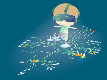 Illustration of a Kid Boy Wearing Virtual Reality Goggles Walking on the Alphabet