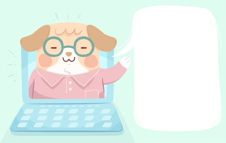 Illustration of a Dog Waving from Inside a Video Playing on Laptop with Blank Speech Bubble
