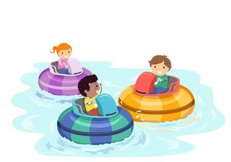 Ilustración de Stickman Kids en un bote de choque en un parque de atracciones