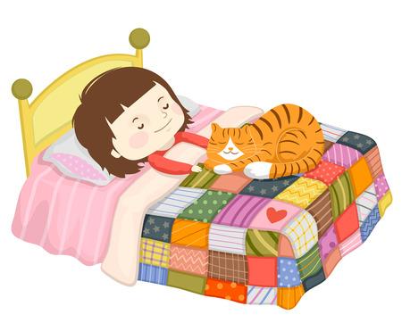Ilustración de un niño niña durmiendo en la cama con gato mascota Foto de archivo