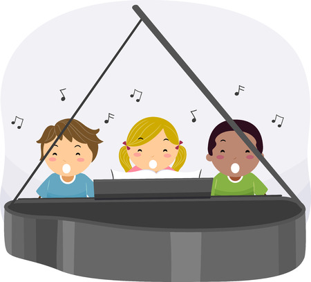 Illustration of Stickman Kids Singing while Playing the Piano