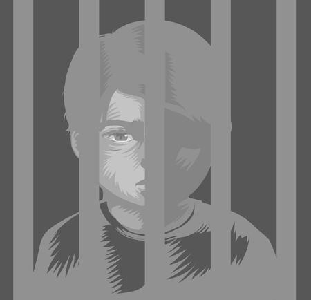 Illustration of a Kid Boy Behind Bars. Juvenile Detention Center Stock Photo