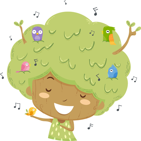 Illustration of a Kid Girl Tree with Musical Notes and Singing along with Birds Stock Photo