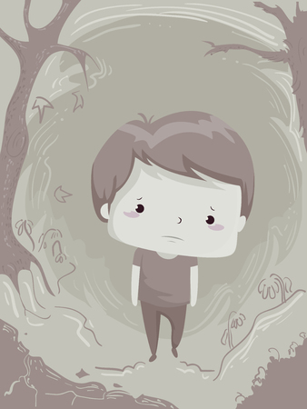 Illustration of a Sad Kid Boy Walking Alone and Depressed in the Woods Stockfoto