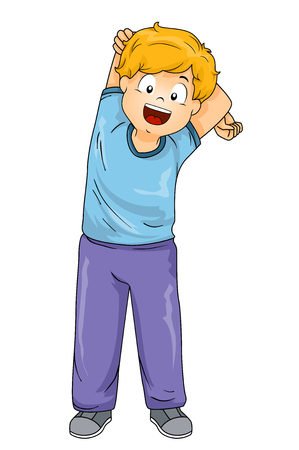 Illustration of a Kid Boy Stretching His Arms