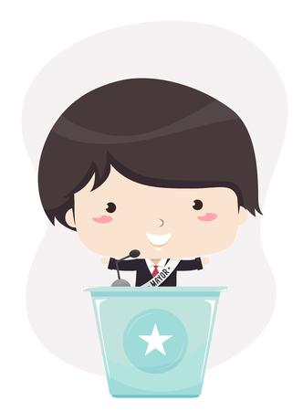 Illustration d'un homme politique Kid Boy debout sur un lutrin et prononçant un discours
