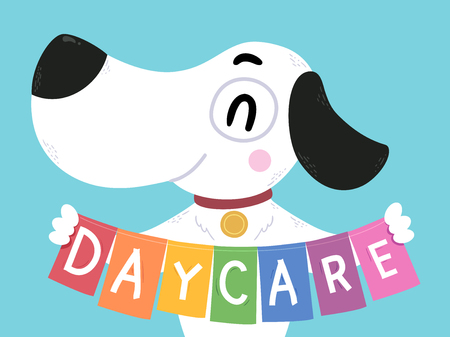 Illustration of a Dog Holding a Banner with Day Care Lettering 版權商用圖片