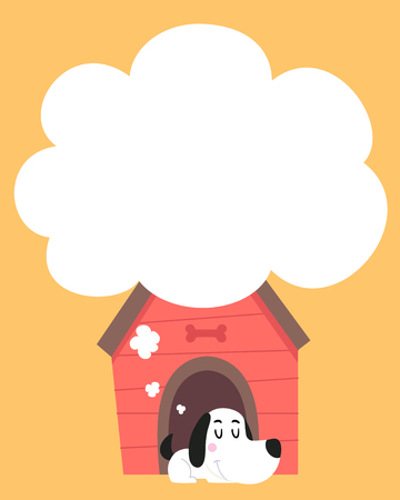 Illustration of a Dog Sleeping and Dreaming from Inside His House with Blank Thinking Cloud