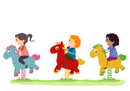 Illustration of Stickman Kids Riding a Horse Rocker in the Playground