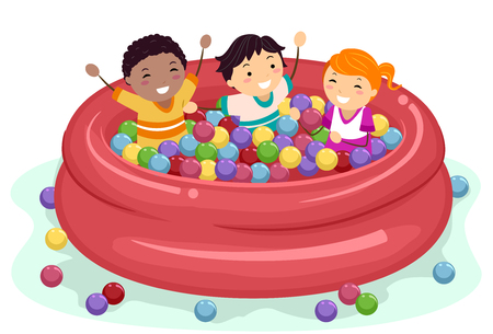 Illustration of Stickman Kids Having Fun Inside a Ball Pit in an Inflatable Pool