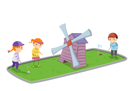 Illustration of Stickman Kids Playing Mini Golf with a Wind Mill