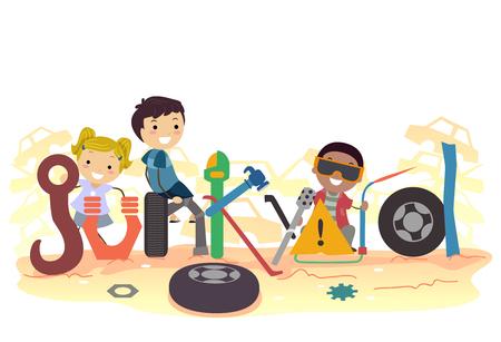 Illustration of Stickman Kids among Junk with Junkyard Lettering Stock Photo