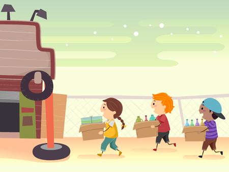 Illustration de Stickman Kids apportant du papier usagé, des contenants en plastique et des bouteilles dans des boîtes à vendre dans une brocante